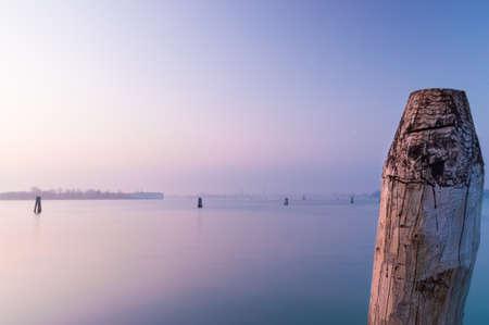 Purple sunset over Venice lagoon