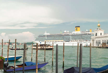 Big cruise liner in front of the city of Venice