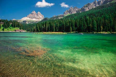 Lago di Misurina in the Italian Alps in the summer