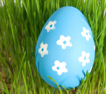 nature one painted: easter egg with white painted flowers