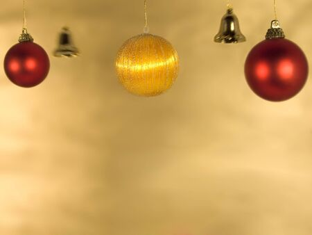 vibrant background: decorations for christmas on  golden background Stock Photo
