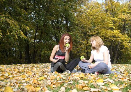 joyfull: Portrait of two beautiful young women Stock Photo