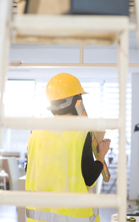 Woman contractor worker Stock Photo