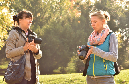 Two Women Photographer at work Stock Photo