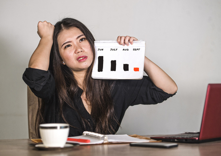 worried and frustrated Asian Chinese business woman suffering depression holding graph diagram showing stock market stress with benefits dropping and sales declining in financial problem