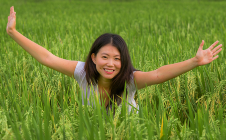 outdoors fresh portrait of young beautiful and happy Asian Japanese tourist girl having fun feeling free at tropical rice field enjoying exotic holidays trip in Asia exploring traditional village Banque d'images