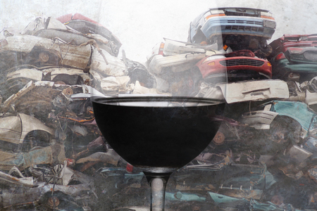 composite of alcohol drink wine glass and crashed cars junk and scrap wrecked on grunge background representing drunk and intoxicated driver suffering accident in irresponsible alcoholic driving