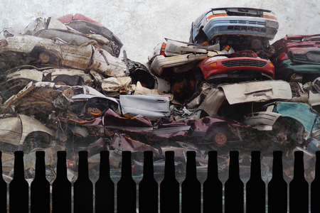 composite of beer bottles and crashed cars junk and scrap wrecked on grunge background representing drunk and alcohol intoxicated driver suffering accident in irresponsible alcoholic driving