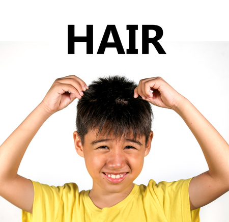 English language learning card child holding his hair with his fingers isolated on white background as part of school cards set of body and face parts 免版税图像 - 116717531