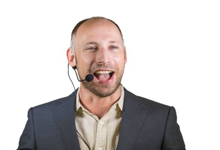 happy attractive and confident business man speaker with headset giving coaching conference training for job success smiling cheerful and positive isolated on grey background