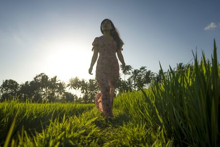 tropical sunset bliss. Young beautiful and attractive Asian Korean woman in elegant dress walking on green rice field enjoying exotic Summer holidays trip in nature and tourist destination concept