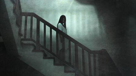 Portrait de style film d'horreur japonais d'une jeune fille asiatique étrange la nuit dans un sombre escalier d'hôtel solitaire à l'air étrange et louche dans la peur et l'hommage effrayant d'Halloween