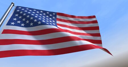 4th July CGI isolated USA flag waving on a blue sky - close up of United States of America national flag flowing in the wind in US American democracy and freedom concept