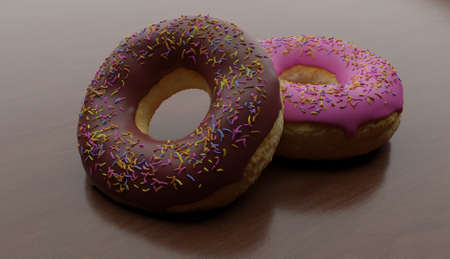 unhealthy but tempting sugary dessert - two yummy and delicious donuts with colored sprinkles one chocolate and one pink icing on wood table- calories and sugar abuse nutrition concept Imagens