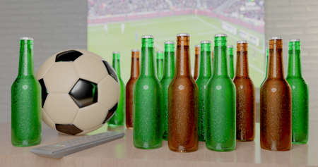 CGI 3D still life design of group of beer bottles , football and TV remote on table in front of big television LCD screen in watching live sport concept