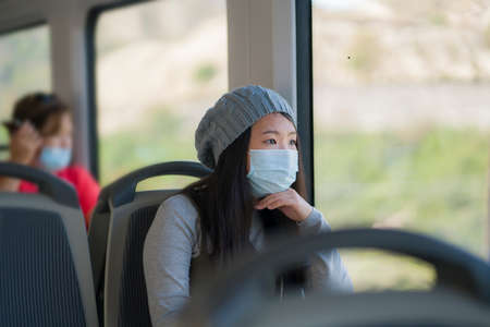 new normal traveling - young attractive and pretty Asian Japanese woman in face mask sitting on railcar by window enjoying trip in the train relaxed and thoughtful
