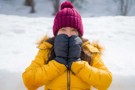 Christmas holidays in the snow - young beautiful and happy Asian Japanese woman enjoying outdoors at cold mountain village enjoying Swiss Alps vacation Banco de Imagens