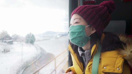travel during  - young happy and beautiful Asian Korean woman in face mask looking to snow through train window traveling during winter holiday