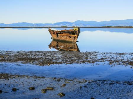 Abandoned ship in the coast of Motueka, New Zealand