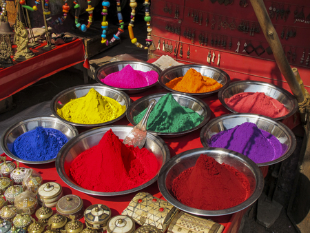 Powder of different colors in an Indian market