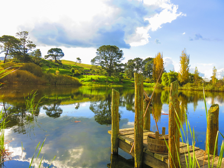 Hobitton, detail of lake, Mata Mata New Zealand