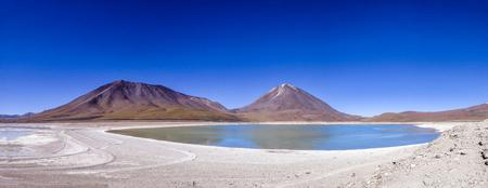 Laguna Verde an Licancabur volcano, Bolivia and Chile Stock Photo