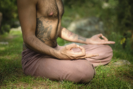 A young man is practicing Yoga and Meditation in a peaceful Himalayan forest  photo