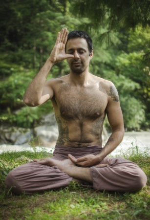 sadhu: Pranayama  breathing  exercises in the Himalayas