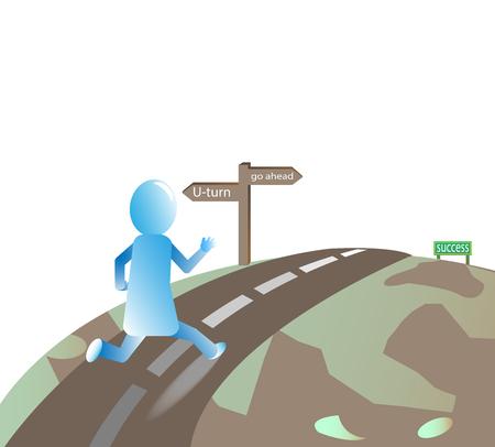 seguir adelante: el hombre sigue adelante con su objetivo