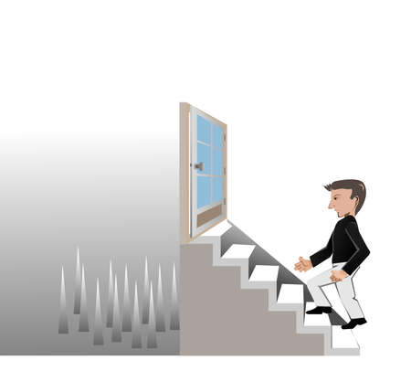 the man walk on stair to go his target but it is the wrong way Vector
