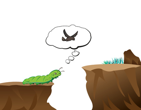 worm dreams to be the bird for going to another place  Stock Vector - 22970786