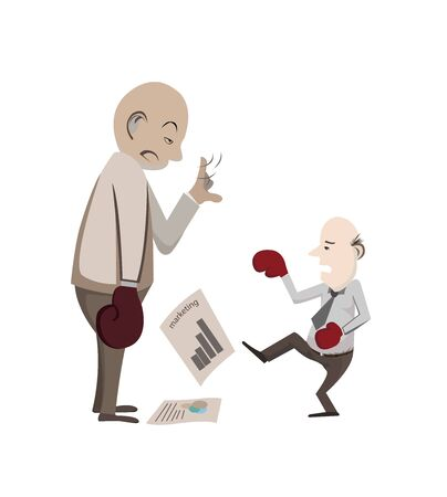 market value: man is fighting for his market value that it is too hard because his Experiences is short. Illustration