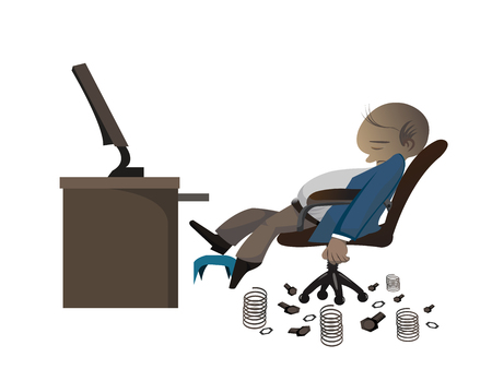 tried: a businessman get tried to work sleeping on the chair