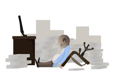 a businessman work so hard on white background