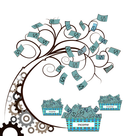 growing tree: money tree with the gear on white backgroun