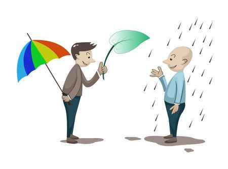 adversaire: homme donne la feuille � un autre homme Illustration
