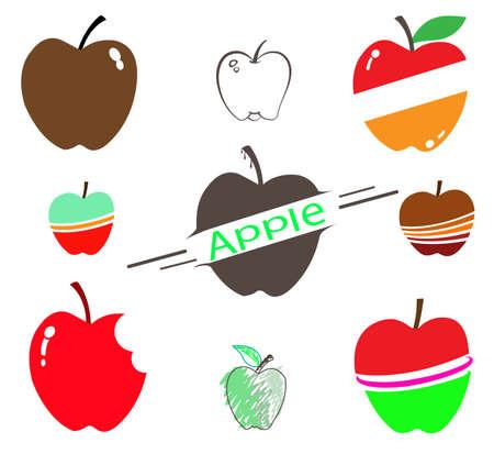 bite apple: the set of apple on white background