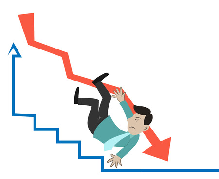 compensate: the business man is falling on the floor Illustration