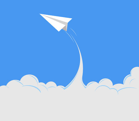paper airplane is flying to the sky