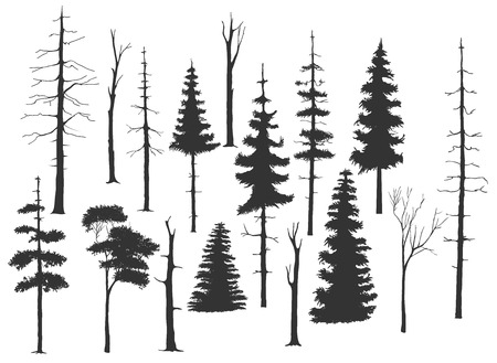 free hand drawing set of the tree in silhouettes Ilustração