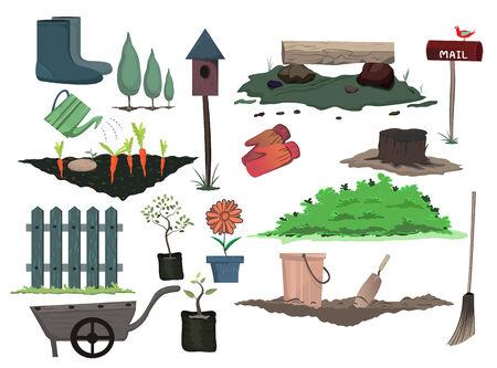 gardening design set of the equipment Vector