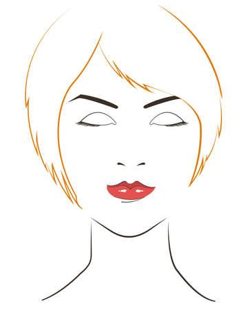 yellow hair: le donne devono affrontare con i capelli gialli su sfondo bianco Vettoriali