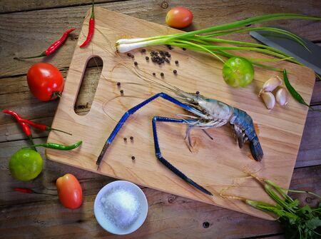 prepared shrimp: prepared shrimp on the board with spice