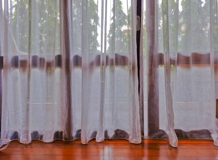white curtain: white curtain background inside the room Stock Photo