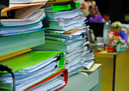 the pile of document waiting to manage Stock Photo - 42507109