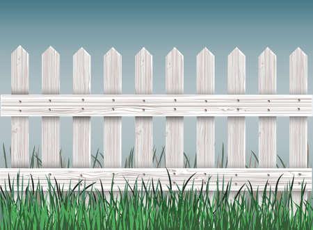 grass close up: close- up wooden fence and green grass