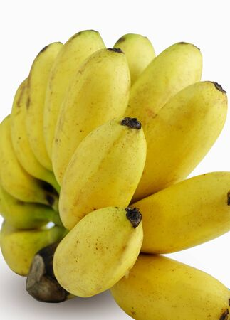 ripened: bunch of ripened bananas on the white background