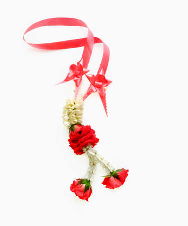 neckwear: necklace garland making from rose and jasmine