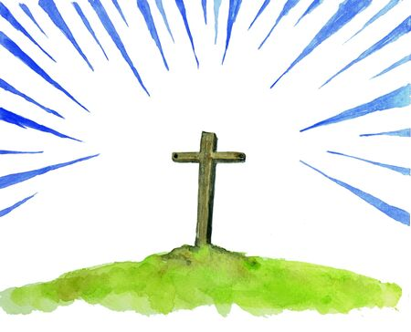 religion symbol,christian cross with light ray painting in watercolor