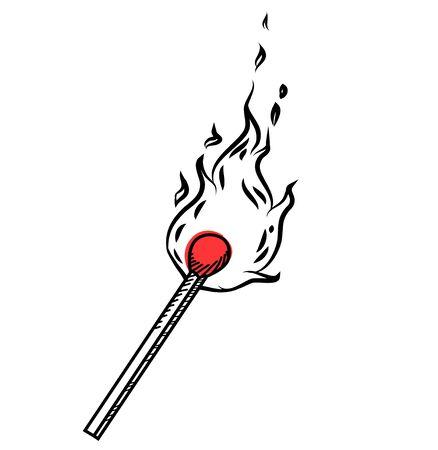 Burning match stick doodle